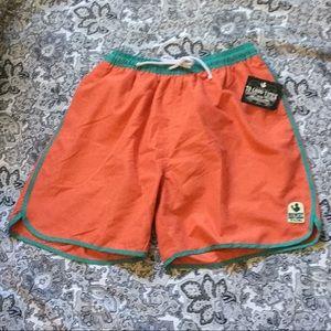 Rowdy gentlemen trunks sz M orange/turquoise